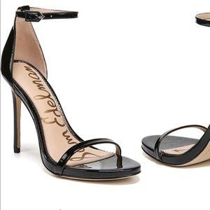 Sam Edelman black patent leather ankle strap heels